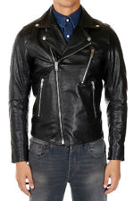 DIESEL Man Black Leather Biker Jacket New with tags and Original