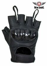 Quality Men's Leather Motorcycle Fingerless Riding Gloves with 2 Leather Loops