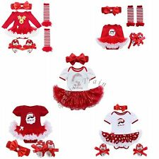 Newborn Baby Girl My First Christmas Romper Costume Tutu Dress Outfits Clothes