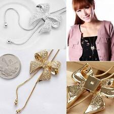 Long Rhinestone Pendant Necklace Crystal Sweater Chain Bowknot