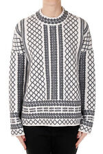 TORY BURCH New woman White Grey Round Neck Wool Blend Sweater NWT