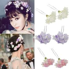 2PCS Fabric Flower Hair Pins Clips Prom Wedding Bridesmaids Hair Accessories