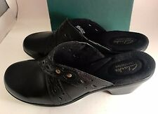 New Clarks Bendables Addey Trust ladies Black Clogs Mules 11 Narrow