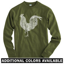 Rooster Long Sleeve T-shirt - LS Men S-4X - Gift Cock a Doodle Doo Farm Animal
