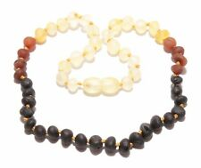 Genuine Raw Baltic Amber Beads Baby Necklace for Child Rainbow 11.4 - 13 in