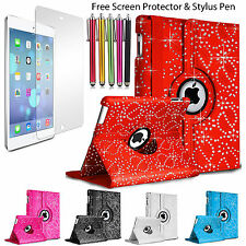 iPad 2 3 4 Air Mini Pro Bling Leather 360 Degree Rotating Smart Stand Case Cover