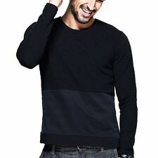 Fashion Mens Round Collar Long Sleeve Solid Splice Fitted T-shirt Black S to 3XL