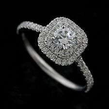 Double Halo Style Diamond Platinum Engagement Ring