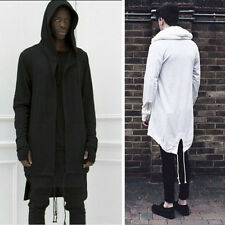 Fashion Mens Hooded Jacket Long Cardigan Black Ninja Goth Gothic Punk Hoodie d41