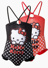 Official Hello Kitty Cat Girls Kids One Piece Swimming Costume Black Red 8-12Y