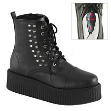 V-CREEPER-573 MEN COMBAT GOTH PUNK SPIKY  LACE UP / ZIPPER PLATFORM ANKLE BOOT .