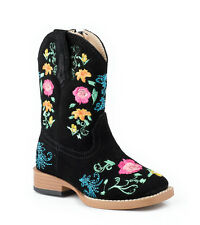 Roper Infant Girls Fancy Sq Toe Black Suede Leather Floral 6in Cowboy Boots