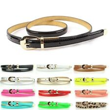 12 Colors Fashion Women Candy Color Narrow Thin Skinny Pu Leather Waist Belt