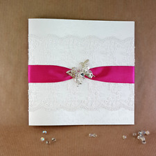 pocket wedding invitation butterfly trimmed  fuscia lace (Christine)