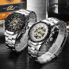 Sport Skeleton Men Wrist Watch Stainless Steel Mechanical Dial Automatic