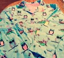 WOMEN'S PJ SALVAGE FLANNEL OWLS PAJAMA SET NWT SIZE SMALL OR LARGE