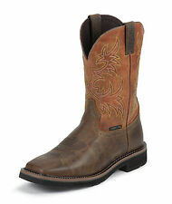 Justin Mens Tan Rugged Leather Work Boots 11in Stampede Comp Toe