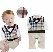Baby Boy Wedding Christening Tuxedo Formal Party Check Suit Outfit Clothes 3-18M