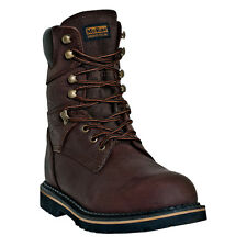 McRae Industrial Mens Brown Leather 8in Lace Up Soft Toe Work Boots