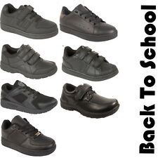 New Kids Boys Girls Childrens Black Sports School Lace Velcro Trainers Shoes UK