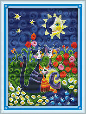 Cats under the sun cross stitch kits animal flower aida 14 counted print fabric