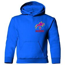 EMBROIDERED HORSE jumping over heart personalised name Adults equestrian hoodie