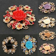 Gold Plated Rose Flower Rhinestone 7 Colors Brilliant Brooch Pin Wedding Party