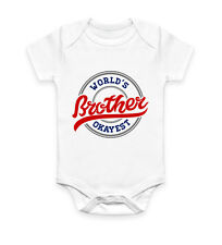 Worlds Okayest Brother Funny Gift Idea Humour Vest Baby Grow Bodysuit Infant