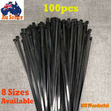 100pcs x Cable Ties Zip Ties Black Nylon UV Stabilised Assorted Tie Wire Locking