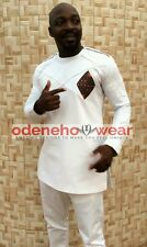 Odeneho Wear Men's White Polished Cotton Outfit/Dashiki Design.African Clothing.