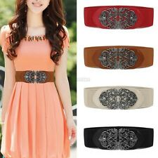 Women Metal Flower Elastic Stretch Buckle Vintage Wide Waist Belt Waistband C5S