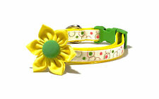 Yellow Cat or Dog Collar Extra Small Dog Bright Yellow Summer Collar Flower Bow