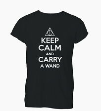 Keep Calm and Carry a Wand Potter Deathly Ladies Mens T-Shirt Tshirt Womens