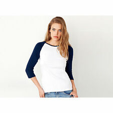 Canvas Baby Rib Knit 3/4 Sleeve Contrast Raglan T Shirt Cotton Ladies Fitted Top