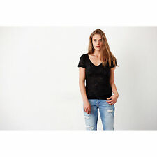 Canvas Womens Ladies Burnout V Neck Sheer Short Sleeve T Shirt Plain Fitted Tee