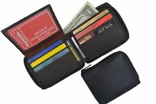 Mens Lamb Leather Zippered Bifold Flap up ID Credit Card Holder Wallet