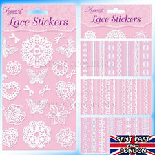 LACE STICKERS Self Adhesive Card Craft Butterflies Hearts & Bows Embellishments