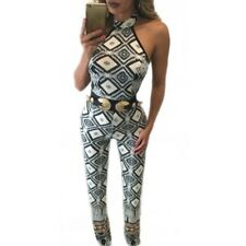 Women Off Shoulder Bodysuit Sleevelss Print Long Jumpsuits And Rompers