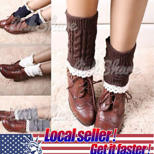 US LOCAL Women Lace Crochet Boot Cuffs Knitted Toppers Boot Socks Leg Warmers