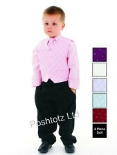 Boys Suits 4pc Pink & Black Formal Suit Wedding Pageboy (0-3months - 8-9years)