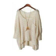 Women's Hollow Pullover Bat Wing Sleeve Irregular Crewneck Loose Sweater