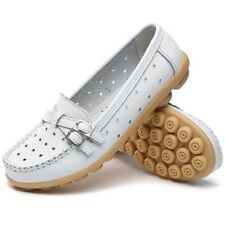 Women Flat Shoes Leather Flats Buckle Loafers Slip on Soft Flat Shoes Moccasins