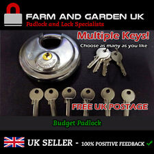 90mm Disk Padlock Heavy Duty Stainless Steel - Multiple Keys Option