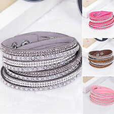 NS Fashion Leather Wrap Wristband Cuff Punk Crystal Rhinestone Bracelet Bangle