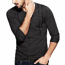 Mens T-Shirt Round Neck Long Sleeve Simple Fitted Basic Tee Clothes Gray M - XXL