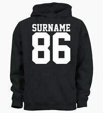Personalised Surname Age Year Customised Hoody Hoodie Mens Womens Ladies