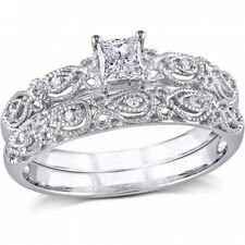 Miabella 1/3 Carat Princess and Round-Cut Diamond 10kt White Gold Bridal Set. Fr
