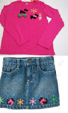NWT Gymboree Cheery All The Way OUTFIT GIRLS puppy dog snowflake tee jean skirt