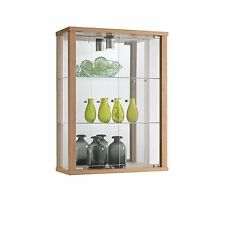 DISPLAY LOCKABLE WALL MOUNTED GLASS DISPLAY CABINET VARIOUS COLOURS