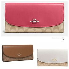 NWT COACH CHECKBOOK WALLET IN SIGNATURE F57319, MSRP$250